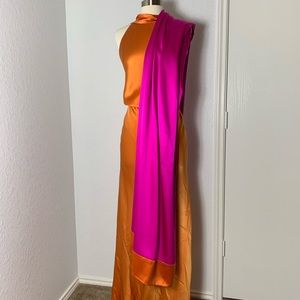 Michael Akers orange and magenta evening gown